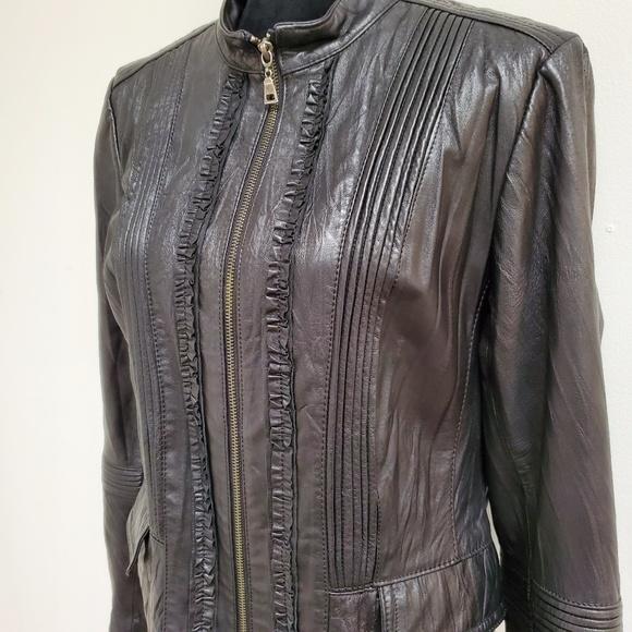 Danier Jackets & Blazers - Danier Women Black Leather Jacket Ruffles In Front